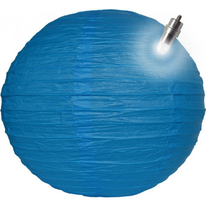 Lampion / boule papier LED 30cm bleu