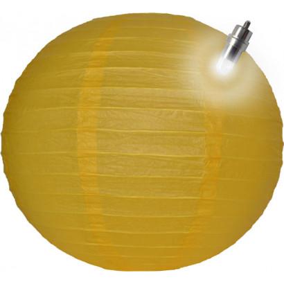 Lampion / boule papier LED 30cm jaune