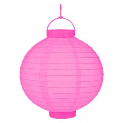 LED Lampion / boule papier 20cm rose