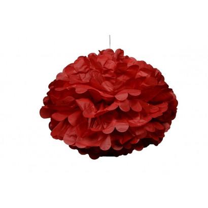 Pompon papier de soie 20cm,  rouge