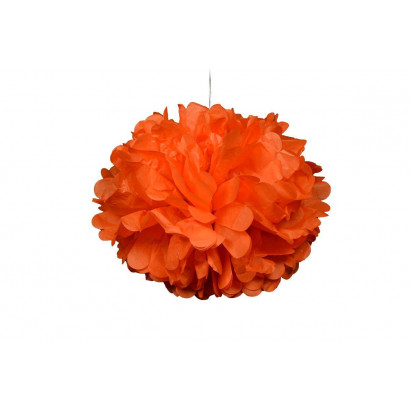 Pompon papier de soie 20cm,  orange clair