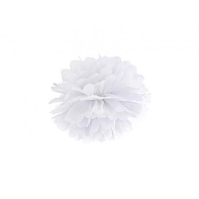 Pompon papier de soie 20cm,  blanc