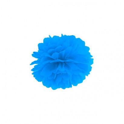 Pompon papier de soie 35cm,  bleu clair