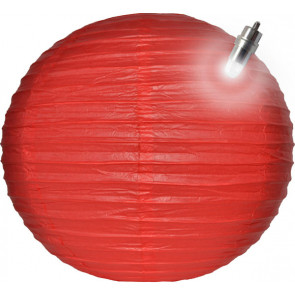 Lampion / boule papier LED 25cm rouge