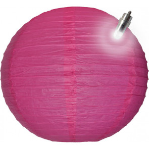 Lampion / boule papier LED 30cm fuchsia