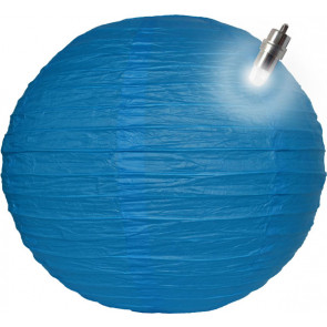 Lampion / boule papier LED 30cm bleu