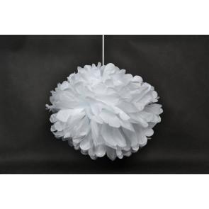 Pompon papier de soie 40cm, blanc