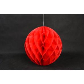 Boule Papier Alvéolée Honeycomb 30cm Rouge