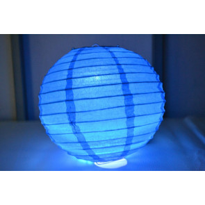 Lampion / boule papier LED 40cm bleu