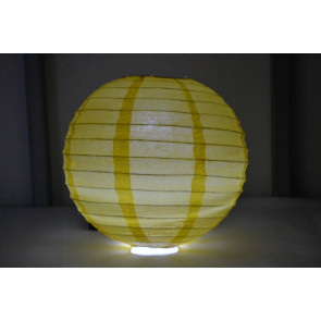 Lampion / boule papier LED 40cm jaune