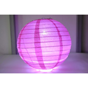 Lampion / boule papier LED 40cm fuchsia