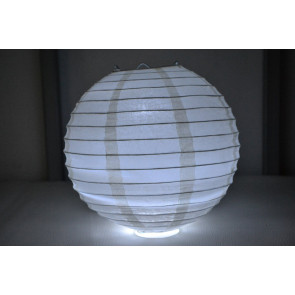 Lampion / boule papier LED 20cm beige