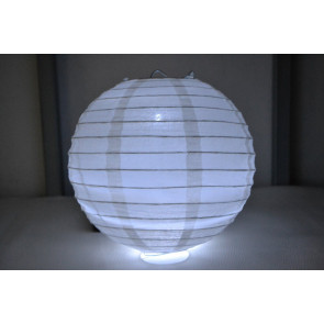 Lampion / boule papier LED 20cm blanc