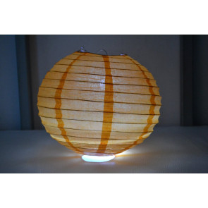 Lampion / boule papier LED 20cm orange
