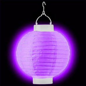 LED Lampion / boule papier 20cm violet + AAA batteries gratuitement