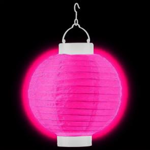 LED Lampion / boule papier 20cm fuchsia + AAA batteries gratuitement
