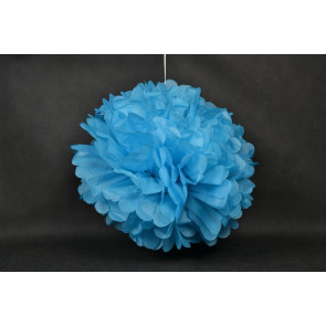 Pompon papier de soie 40cm, bleu