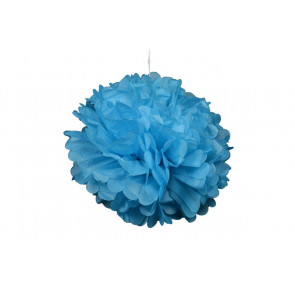 Pompon papier de soie 20cm,  bleu clair