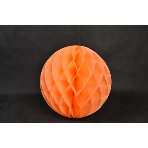 Boule Papier Alvéolée Honeycomb 20cm Orange