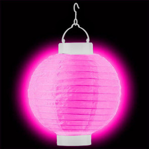 LED Lampion / boule papier 20cm rose + AAA batteries gratuitement