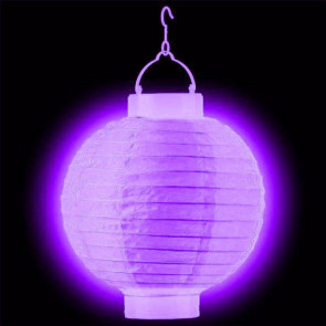 LED Lampion / boule papier 30cm violet + AAA batteries gratuitement