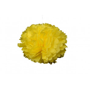 Pompon papier de soie 20cm,  jaune